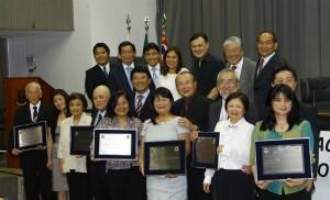 Os representantes das entidades homenageadas