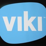A Viki logo is seen on a banner at its office in Singapore